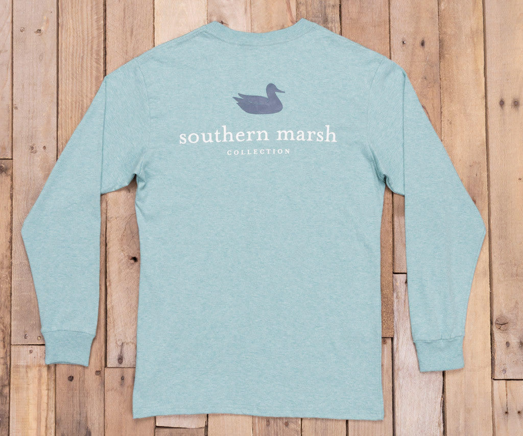 Washed Moss Blue Heather | Authentic Heathered Tee | Long Sleeve T-Shirt | Southern Duck Shirt