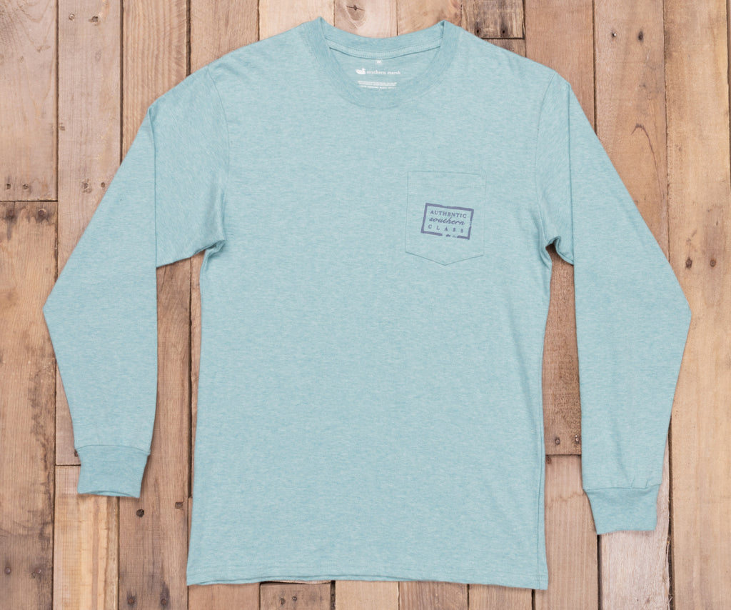 Washed Moss Blue Heather | Authentic Heathered Tee | Long Sleeve T-Shirt | Southern Front Pocket Shirt