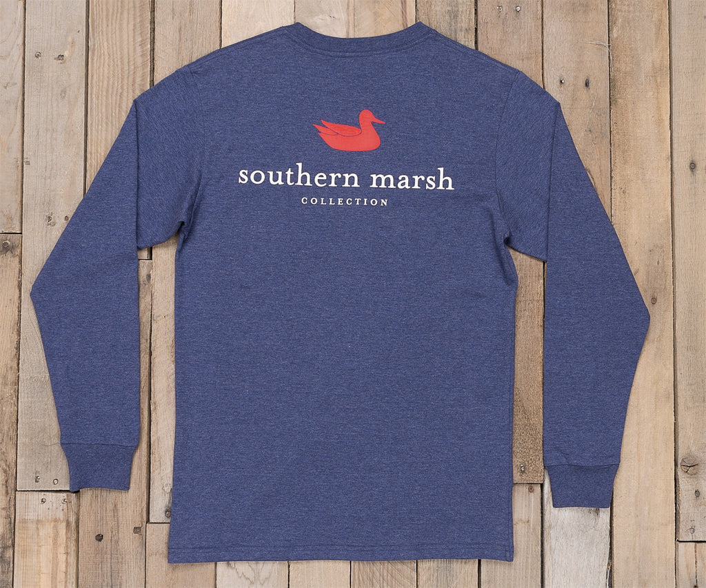 Washed Navy Heather | Authentic Heathered Tee | Long Sleeve T-Shirt | Southern Duck Shirt