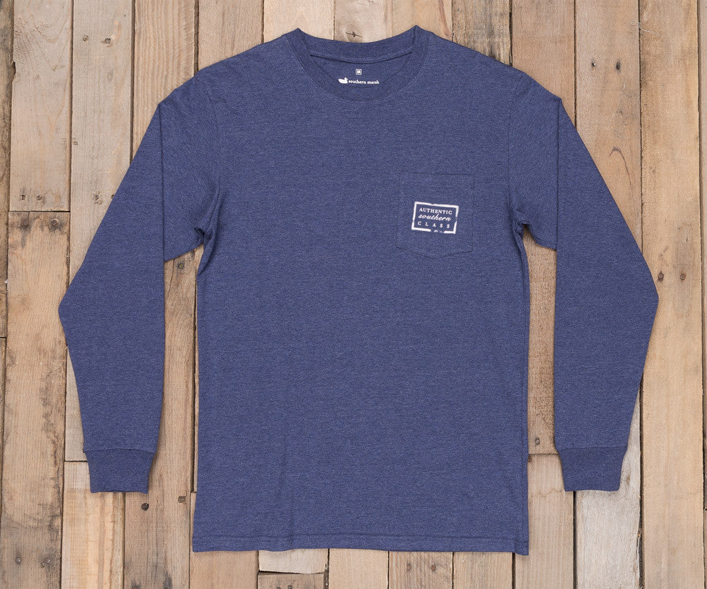 Washed Navy Heather | Authentic Heathered Tee | Long Sleeve T-Shirt | Southern Front Pocket Shirt