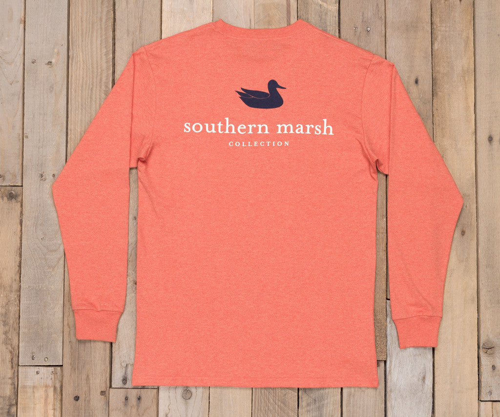Washed Red Heather | Authentic Heathered Tee | Long Sleeve T-Shirt | Southern Duck Shirt
