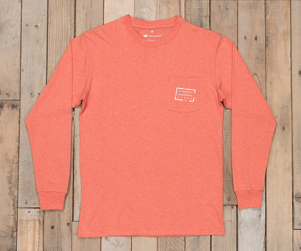 Washed Red Heather | Authentic Heathered Tee | Long Sleeve T-Shirt | Southern Front Pocket Shirt