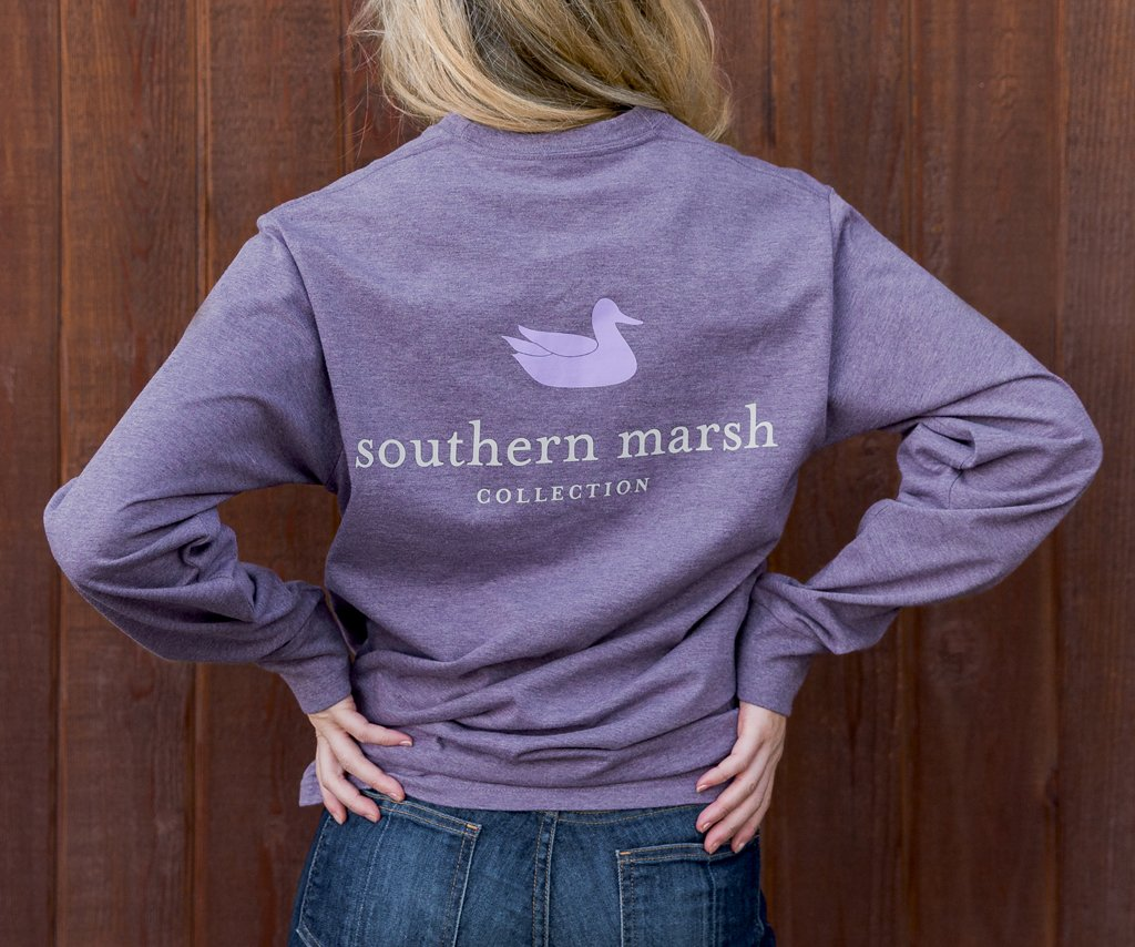 Washed Iris | Authentic Heathered Tee | Long Sleeve T-Shirt | Southern Duck Shirt