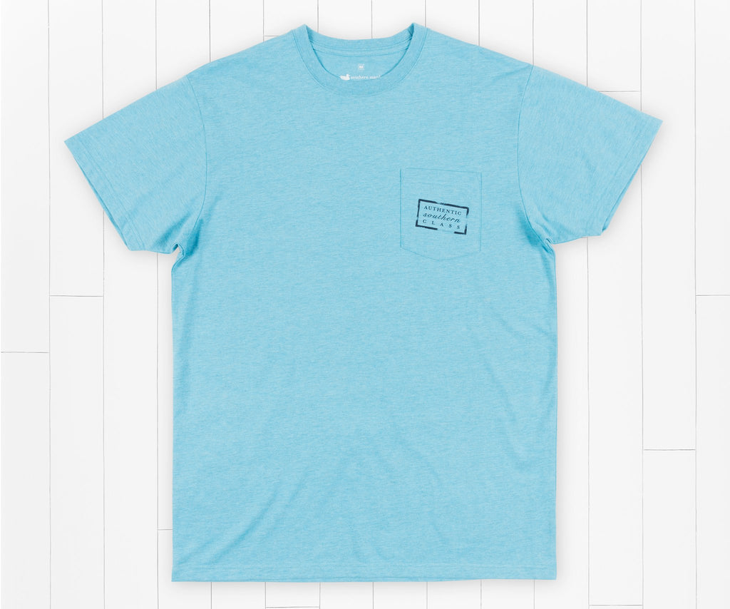 Washed Barbados Blue | Authentic Vibrant Tee Heather | Short Sleeve | Front
