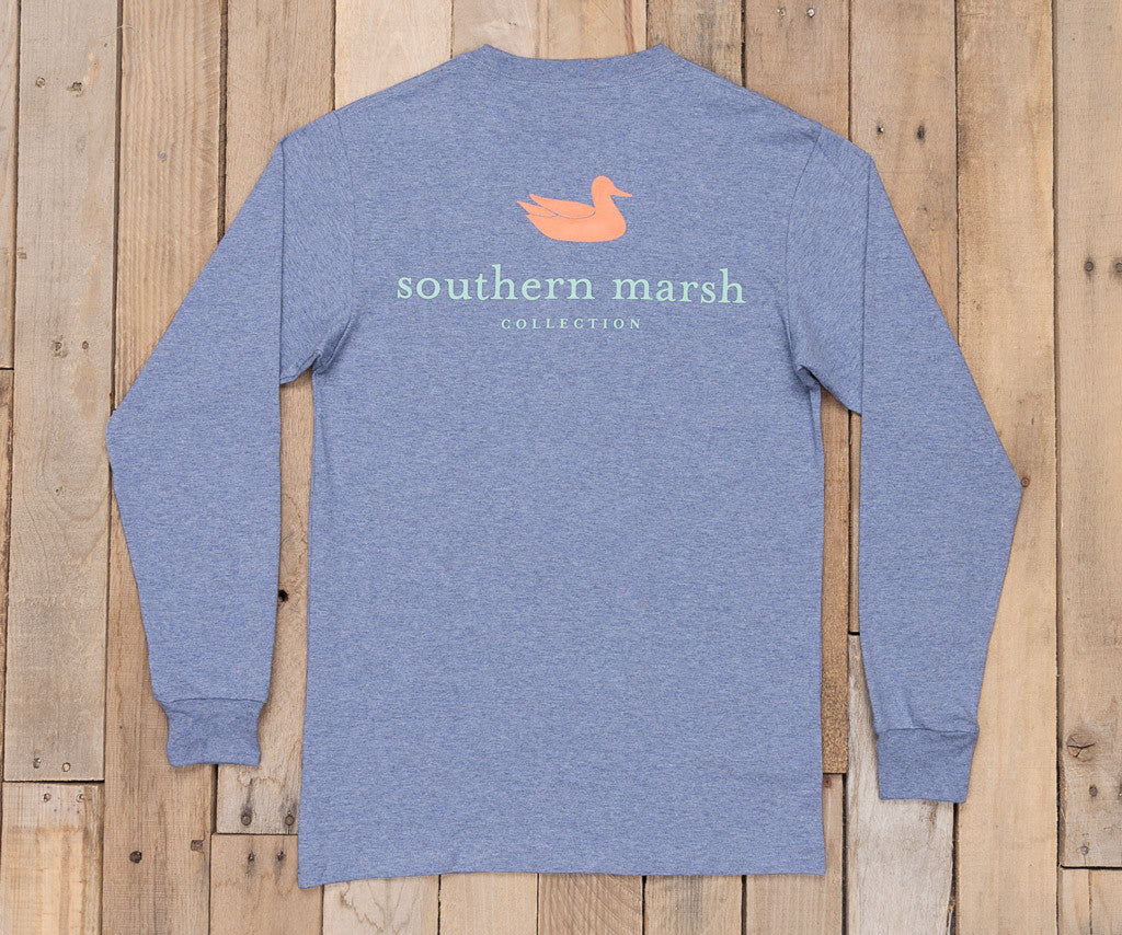 Washed Slate Heather | Authentic Heathered Tee | Long Sleeve T-Shirt | Southern Duck Shirt