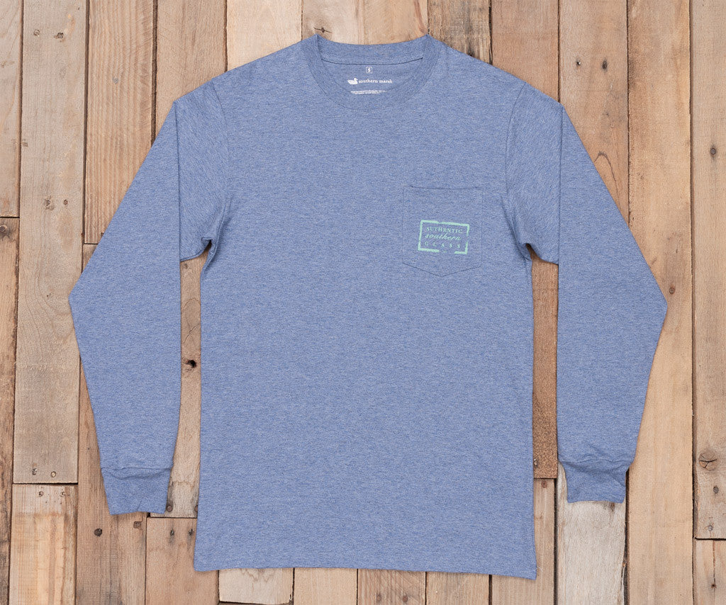Washed Slate Heather | Authentic Heathered Tee | Long Sleeve T-Shirt | Southern Front Pocket Shirt