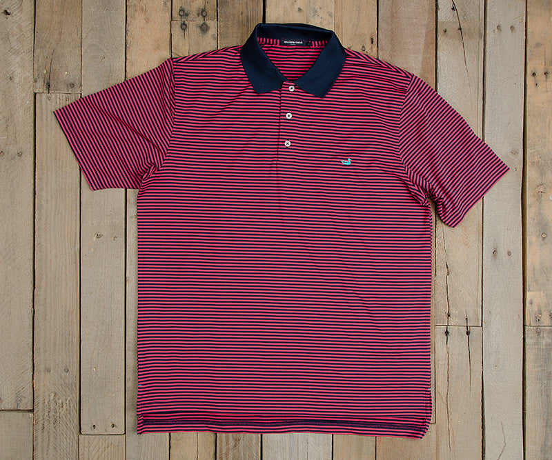 Pink and Navy | Bermuda Performance Polo | Striped
