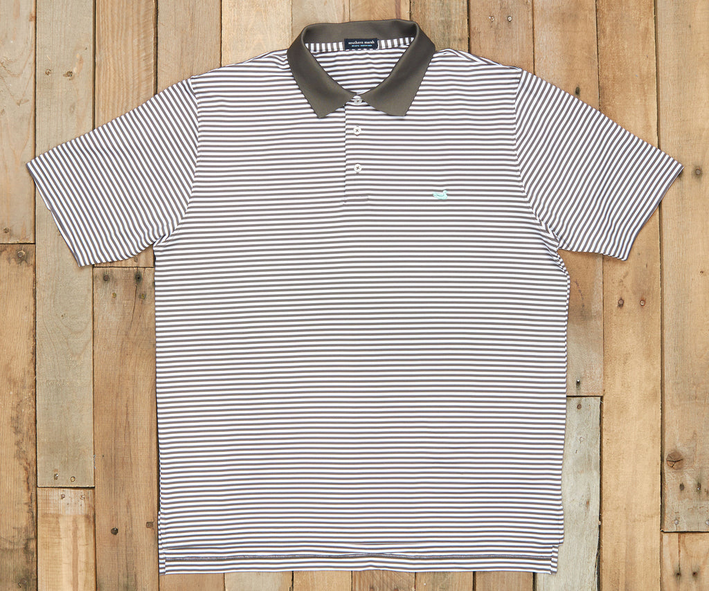 Midnight Gray and White | Bermuda Performance Polo | Striped