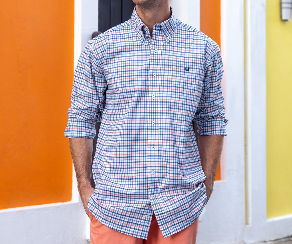 Navy and Coral | Chambers Performance Gingham Dress Shirt | Long Sleeve Performance Dress Shirt