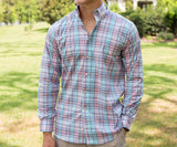 Coral and Teal | Kershaw Performance Plaid Dress Shirt