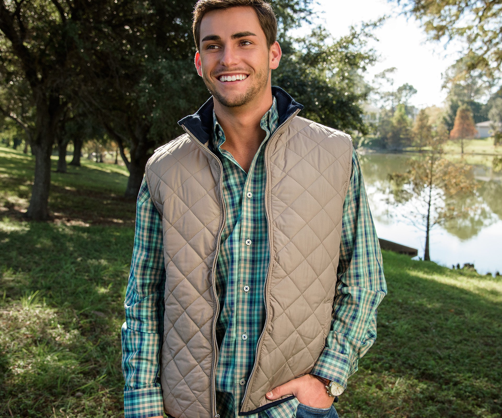 army dartmouth quilt product vest oak image green in quilted and frank
