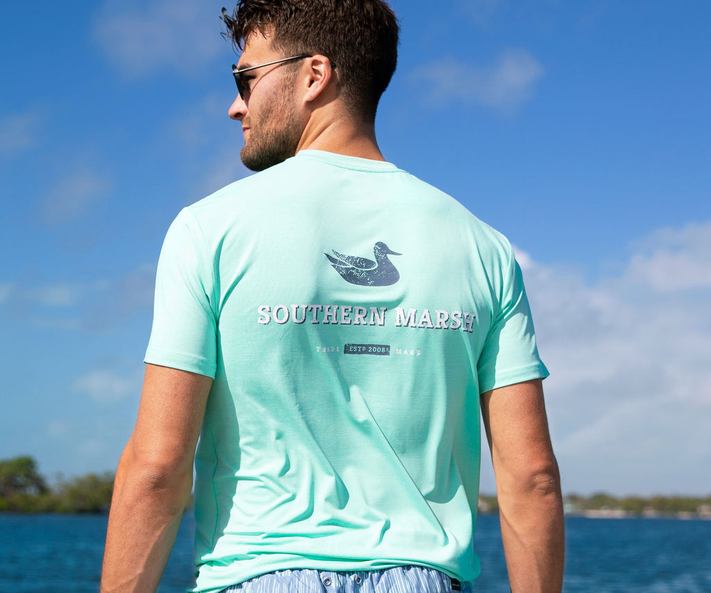 Bimini Green | FieldTec™ Heathered Tee | Trademark | Lifestyle | Back