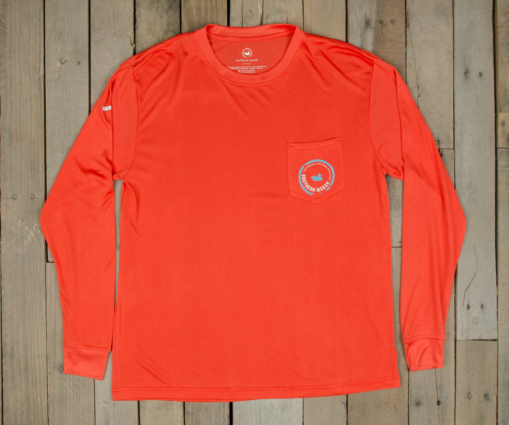 Coral  with Electric Blue | FieldTec™ Pocket Tee | Long Sleeve