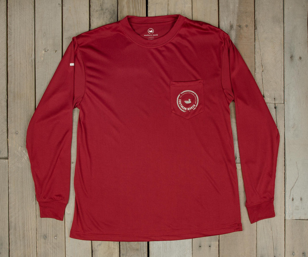 Crimson with Tan and White | FieldTec™ Pocket Tee | Long Sleeve