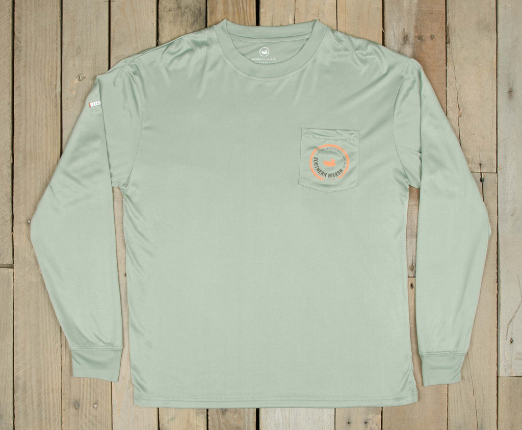 Bay Green with Orange | FieldTec™ Pocket Tee | Long Sleeve