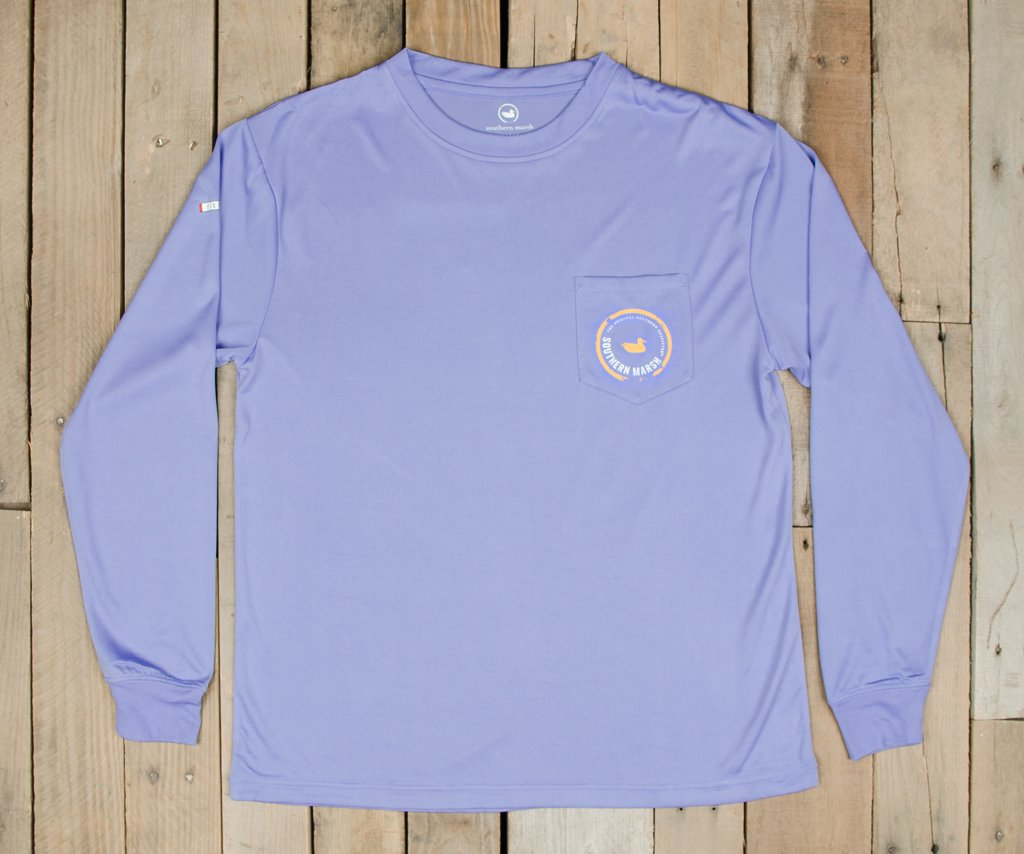 Lilac  with Peach | FieldTec™ Pocket Tee | Long Sleeve | Front