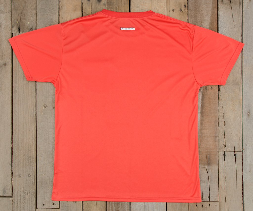 Coral  with Electric Blue | FieldTec™ Pocket Tee | Short Sleeve | Back