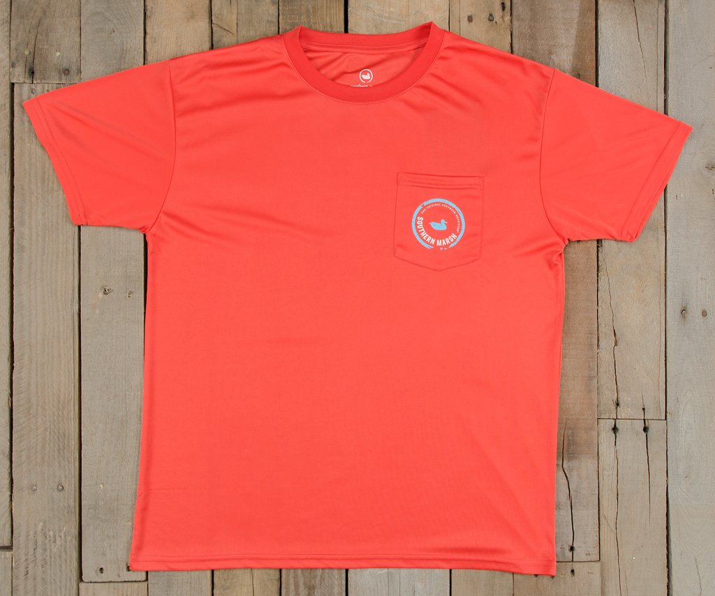 Coral  with Electric Blue | FieldTec™ Pocket Tee | Short Sleeve | Front