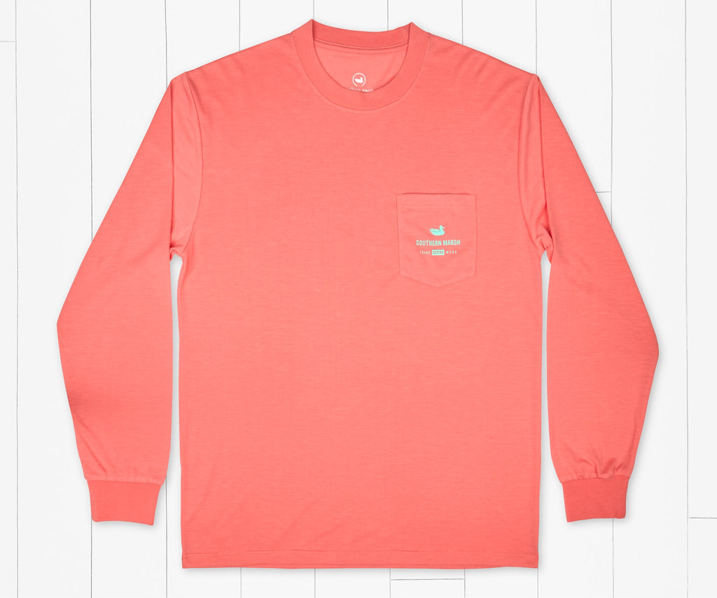 Coral | FieldTec™ Comfort Long Sleeve Tee | Bayside Leaves | Front