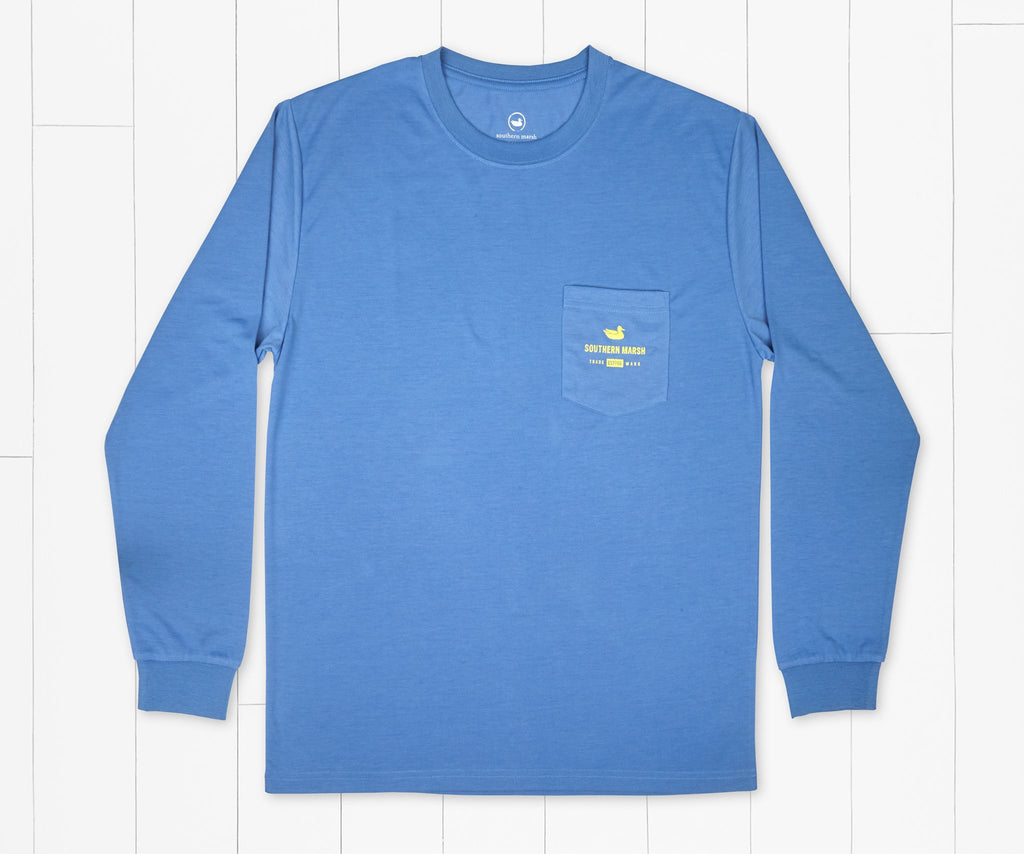 Oxford Blue | FieldTec™ Comfort Long Sleeve Tee | Bayside Leaves | Front