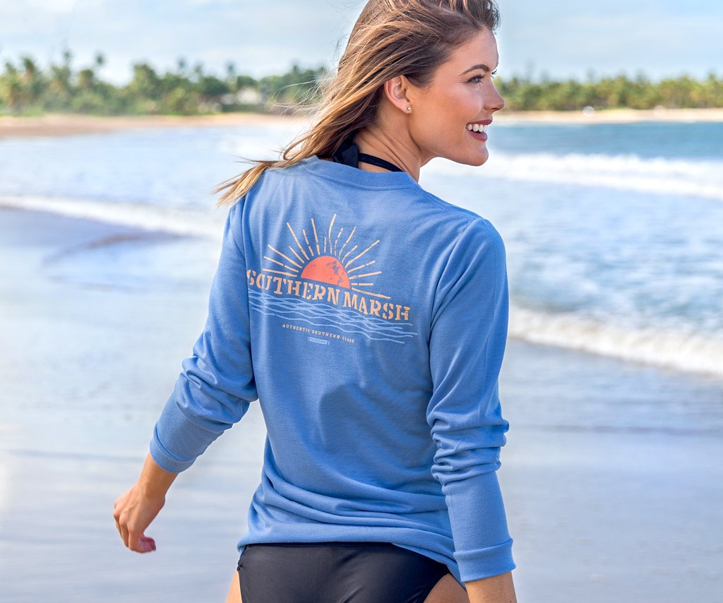 Oxford Blue | FieldTec™ Comfort Tee | Sunset | Womens Fit Long Sleeve T-Shirt | Lifestyle | Back