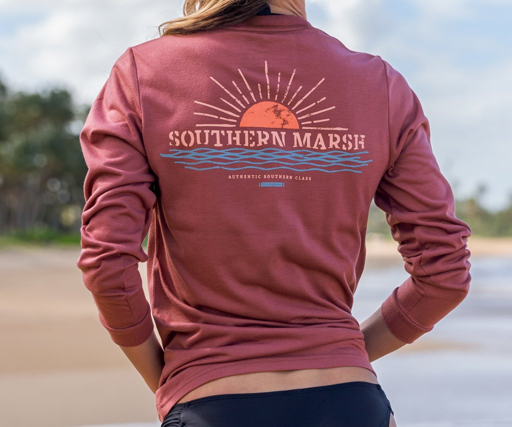 Wine | FieldTec™ Comfort Tee | Sunset | Womens Fit Long Sleeve T-Shirt | Lifestyle | Back