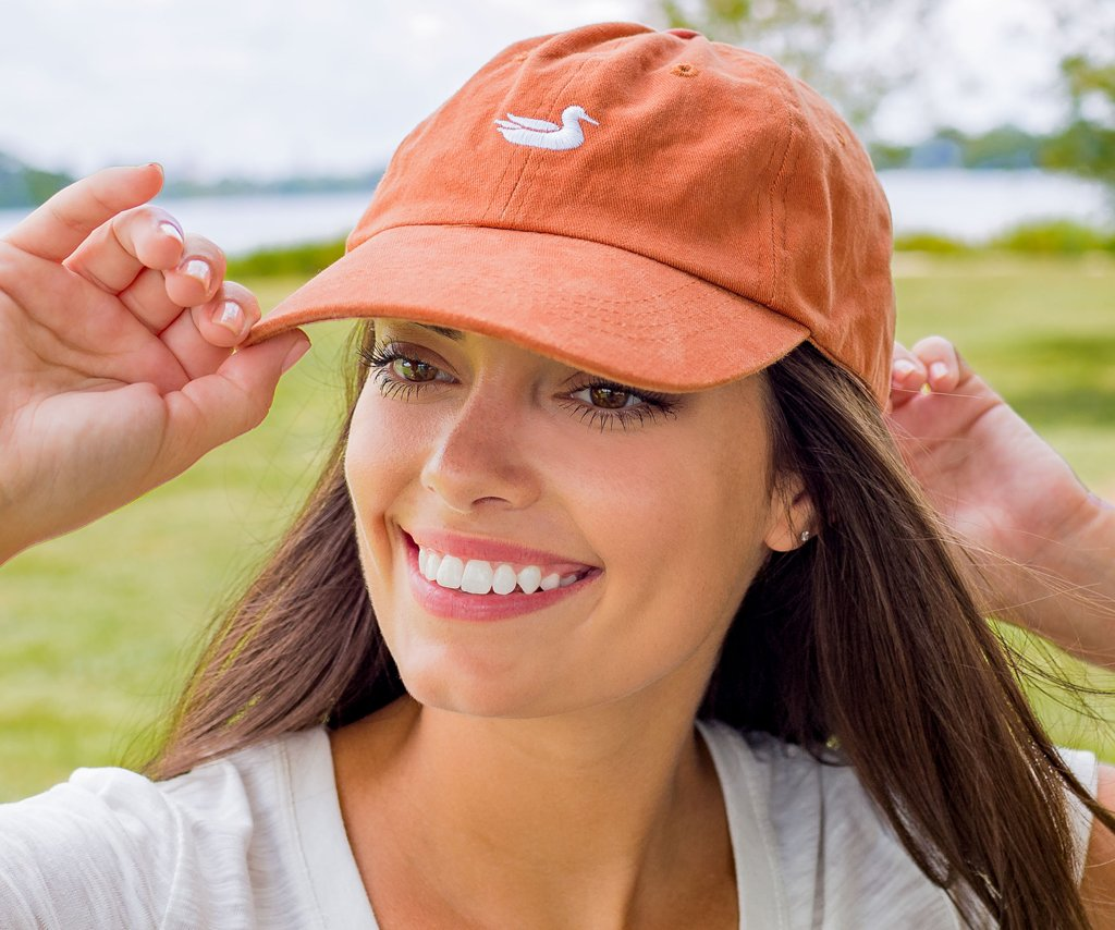 Burnt Orange Hat with White Duck