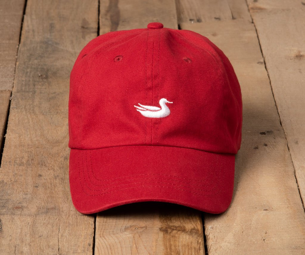 Crimson Hat with White Duck | Southern Marsh Signature Hat