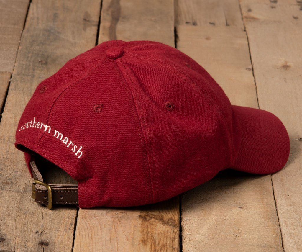Maroon Hat with White Duck | Southern Marsh Signature Hat | Back