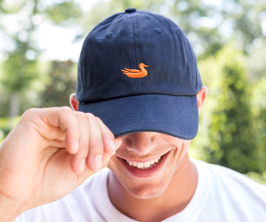 Navy Hat with Orange Duck