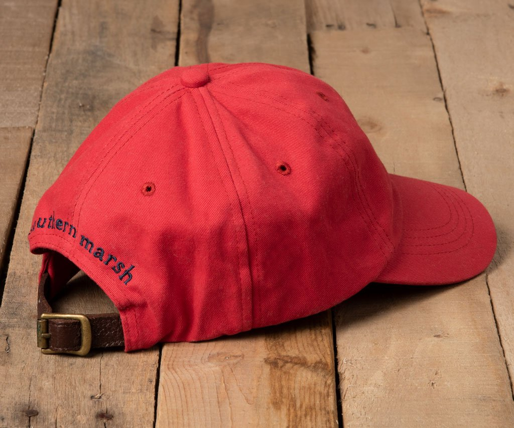 Vintage Red Hat with Navy Duck | Southern Marsh Signature Hat | Back