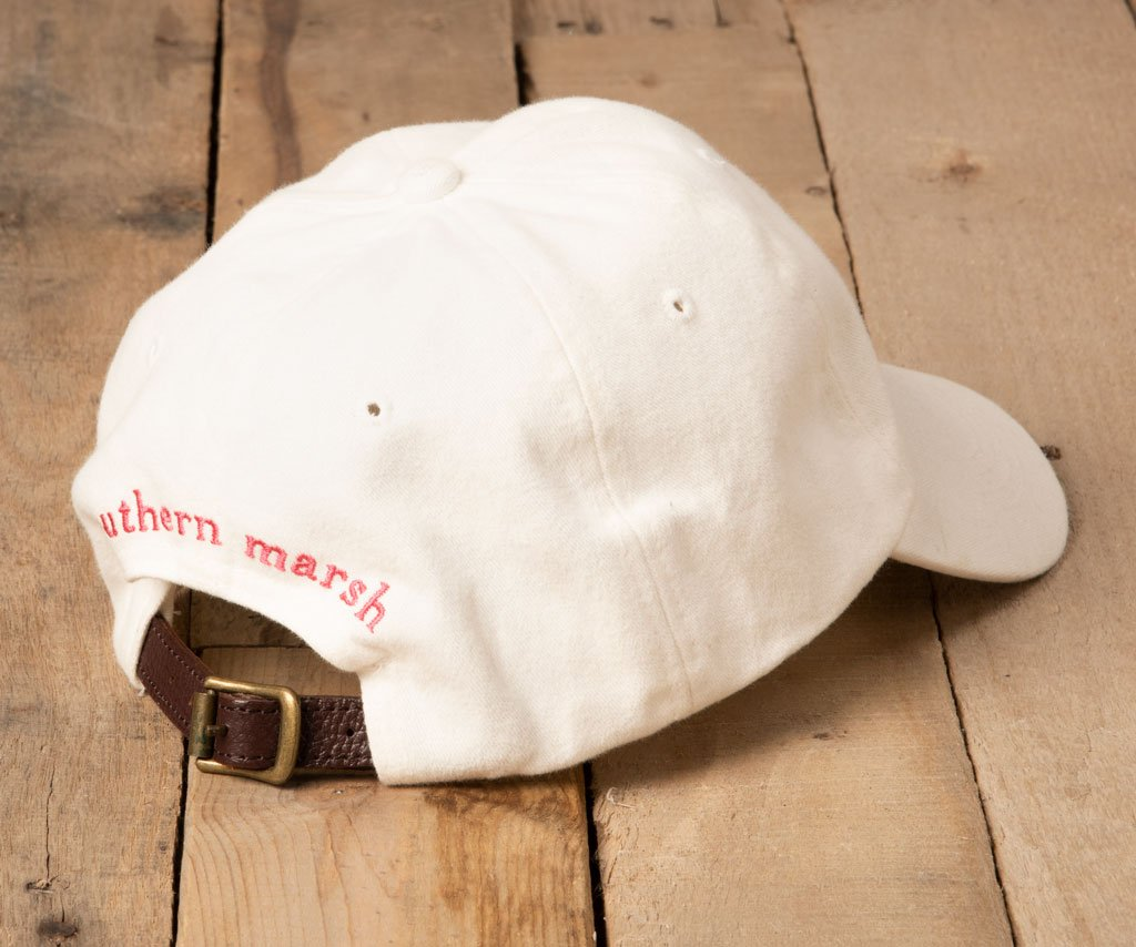 White Hat with Pink Duck | Southern Marsh Signature Hat | Back