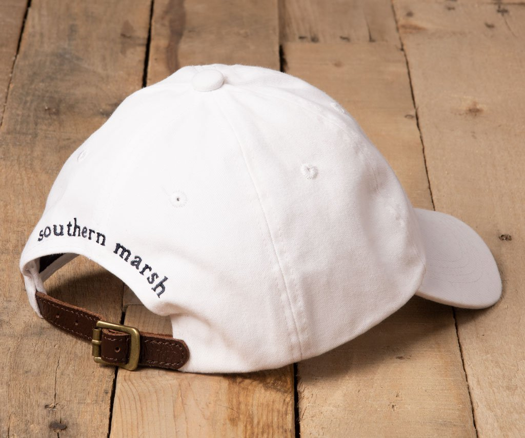 White Hat with Navy Duck | Southern Marsh Signature Hat | Back