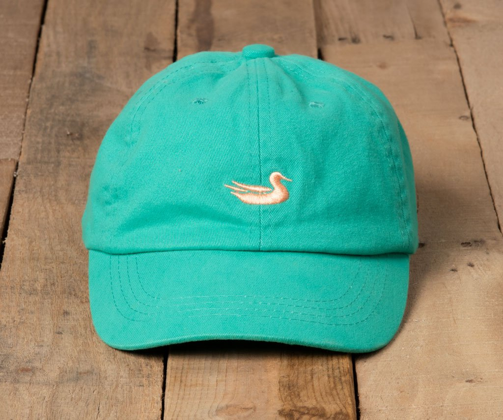 Jockey Green Hat with Peach Duck | Southern Marsh Washed Hat