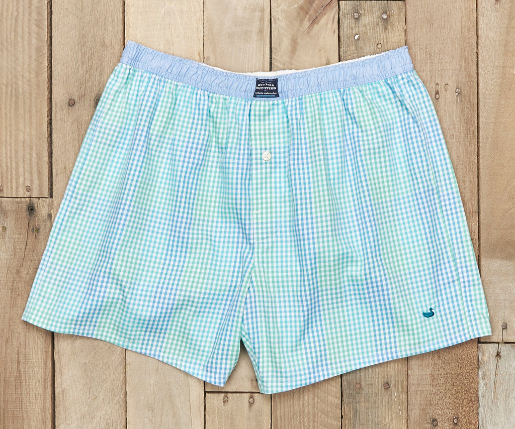 Hanover Gingham Boxer | Antigua Blue and Teal Gingham