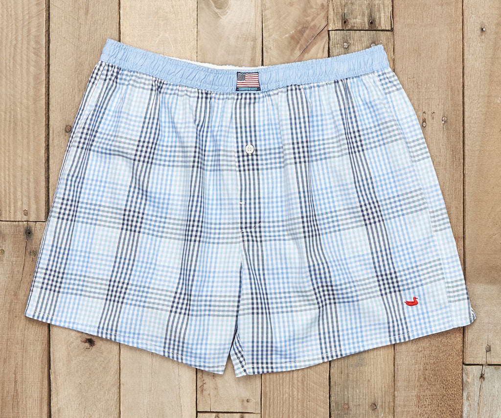 Hanover Gingham Boxer | Navy and Blue Gingham