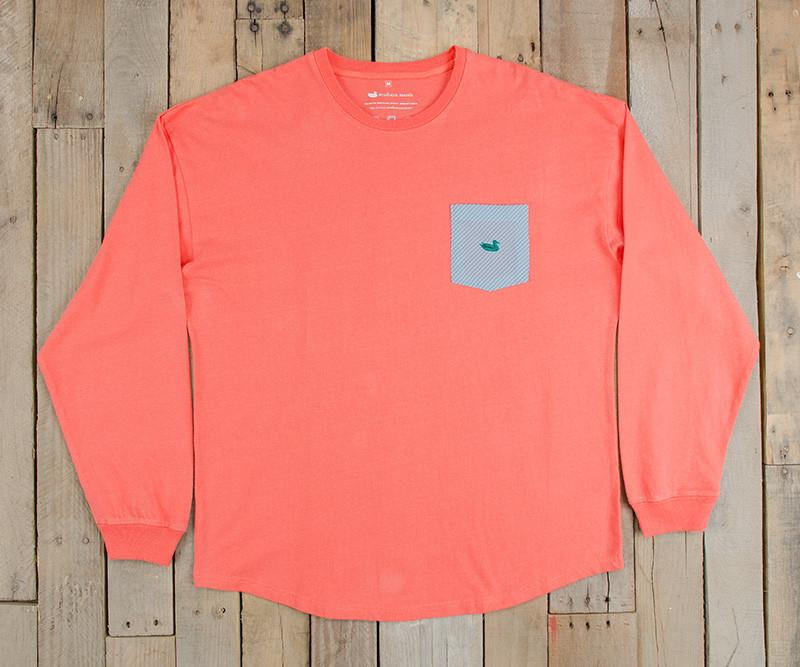 Neon Coral with Blue Seersucker | Original Rebecca Jersey | Womens Fit Long Sleeve T-Shirt
