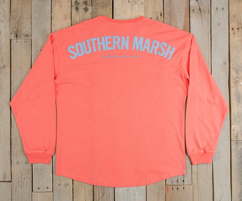 Neon Coral with Blue Seersucker | Original Rebecca Jersey | Womens Fit Long Sleeve T-Shirt | Back