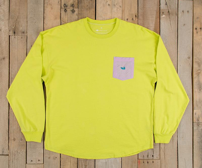 Electric Lime with Pink Seersucker | Original Rebecca Jersey | Womens Fit Long Sleeve T-Shirt