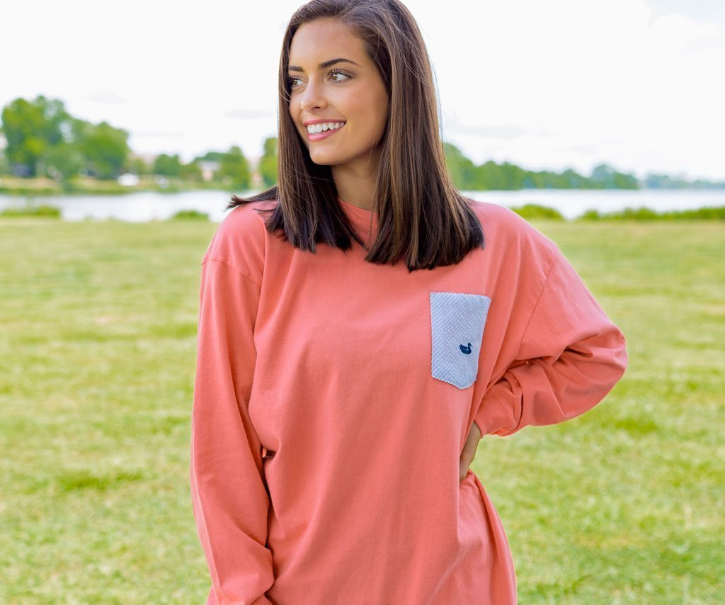 Neon Coral with Blue Seersucker | Original Rebecca Jersey | Womens Fit Long Sleeve T-Shirt | Lifestyle