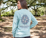 Washed Moss Blue | Branding Tee | Compass | Long Sleeve