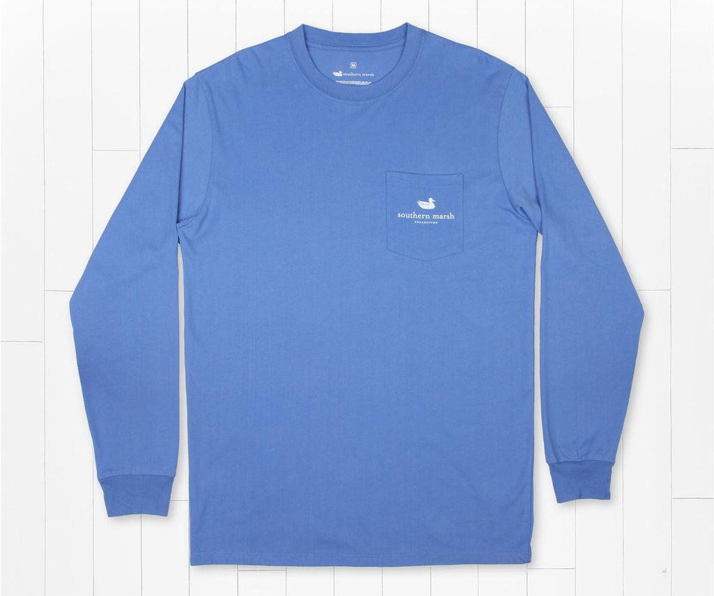 Oxford Blue | Delta Fish Tee | Long Sleeve T-Shirt | Southern Outdoors Pocket Tee