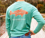 Washed Hunter Green | Delta Fish Tee | Long Sleeve T-Shirt | Southern Outdoors Shirt