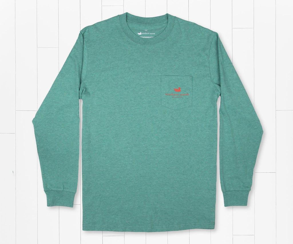 Washed Hunter Green | Delta Fish Tee | Long Sleeve T-Shirt | Southern Outdoors Shirt | Front