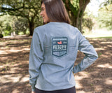Washed Slate Heather | Southern Tradition Crest Tee | Long Sleeve
