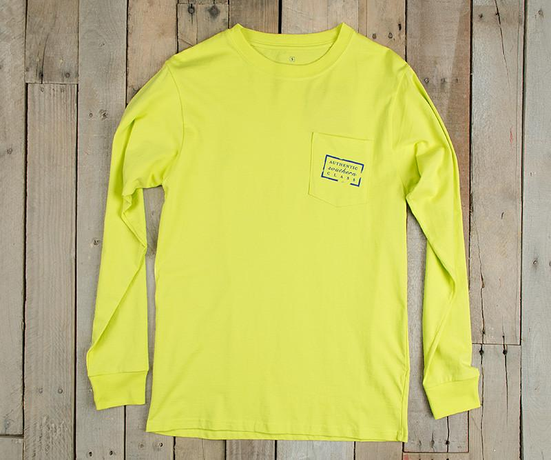 Authentic Heritage Tee - Louisiana - Electric Lime - Long Sleeve - Front