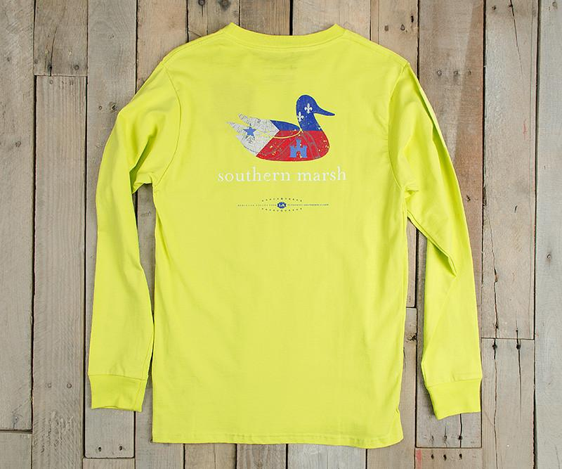 Authentic Heritage Tee - Louisiana - Electric Lime - Long Sleeve