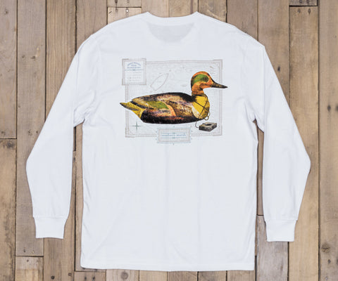 Vintage Decoy Green Winged Teal Tee - Long Sleeve