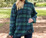 Navy  and  Green | Andover Plaid Sherpa Pullover