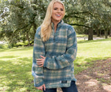 Tan and Slate | Andover Plaid Sherpa Pullover